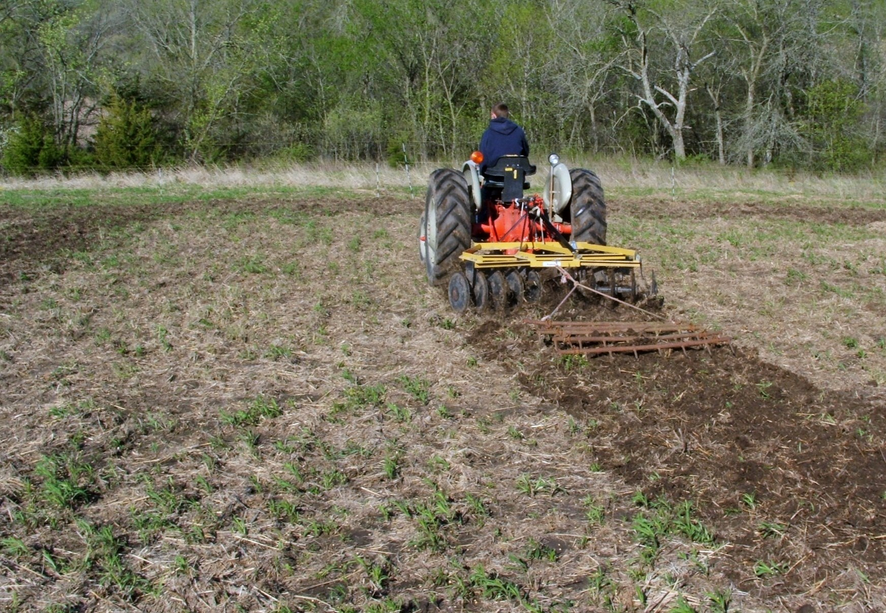 A disc can break ground, cover seed and fertilizer, and level a food plot.  A drag pulled behind helps to cover seed and pack but is not necessary.  In this plot, the seed and fertilizer is already spread because this is an established plot.  One pass with the disc and I'm done planting!